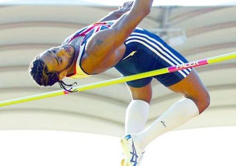 Ben doing the high jump